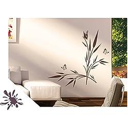 Exklusivpro Wandtattoo Pflanze See-Gras mit Schmetterlinge für Wohnzimmer Schlafzimmer Flur oder Diele (jap42g aubergine) 80 x 48 cm mit Farb- u. Größenauswahl