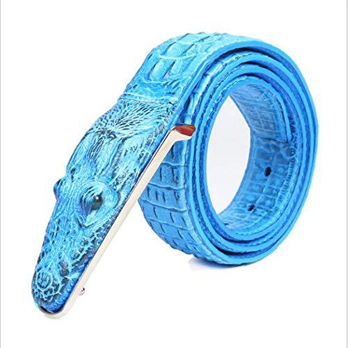 PIDAIKING Gürtel,Herren Gürtel Leder Blaue Kuh Krokodil Muster Modellierung Legierung Schnalle Gürtel Für Männer Business Casual Male Gurt, 110 cm. -