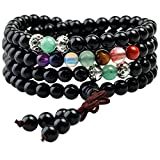 Shanxing 108 Perlen Edelstein Yoga Armband Schmuck Buddha Buddhistische Tibetische Gebetskette Mala Kette Halskette,Schwarz Achat & 7 Chakra Perlen