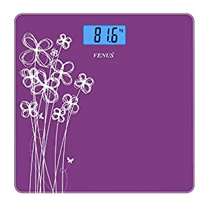 Venus Personal Electronic Digital LCD Weight Machine Body and Fitness Weighing Bathroom Scale with Back Light (Purple)