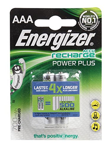 Energizer 638625 Batterie Rechargeable Hybrides Nickel-métal (NiMH) 700 mAh 1,2 V - Batteries Rechargeables (700 mAh, Hybrides Nickel-métal (NiMH), AAA, 1,2 V, Vert, Argent, 2 pièce(s))