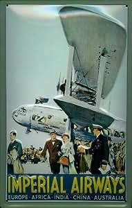 Imperial airways avion aéroport de plaque panneau publicitaire rétro