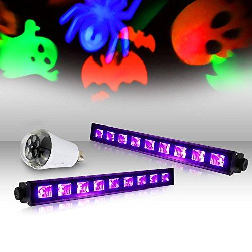 UV 9x 3W–lytor UV Fantom + Leuchtmittel 4Motive Gobo Halloween RGB weiß (Halloween-gobos)