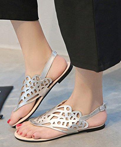 Aisun Femme Mode Clip Toe Découpée à Talon Plat Sandales Argent