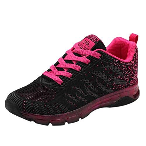 Damen Schuhe Elegant Winter Sneaker LHWY Mesh Woven Turnschuhe Student Net Laufschuhe Lace up Outdoor Sportschuhe (40, Hot Pink)