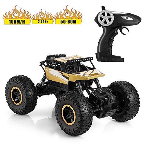 gesteuertes Auto 10km/h Monster Truck/Off Road Fahrzeug 4CH mit 2,4 GHz Fernsteuerung, Steuerdistanz bis zu 80m Rock Crawler für Erwachsene und Kinder ab 6 Jahre alt Gold ()