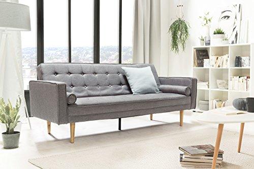 SalesFever Designer Schlafsofa, Couch mit Schlaffunktion, Stoff Grau, Holz Eiche, FSC 100%...