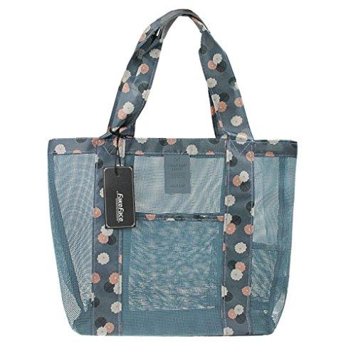 Leggero spiaggia maglia borsa grande shopping bag Shell bag Wash borsa della spesa per giocattoli e picnic piscina Blue