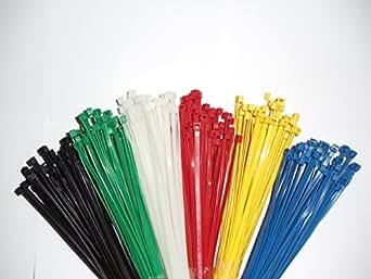 600 pièces Cable Tie Assortiment / bleu / rouge / jaune / vert / naturels / noir articles 100 x 2,5 mm Produit en Europe / qualité industrielle