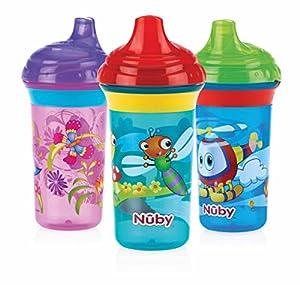 vasos con boquilla: Nuby ID10323 - Taza impresa con boquilla rígida, 270 ml