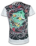 Ako Roshi Herren T-Shirt Akuma - Dämon Kampfsport Tattoo Japan MMA (Weiß XL)