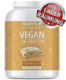 PROTEIN PULVER VEGAN Apfelstrudel 1kg - 82,6% Eiweiß - Nutri-Plus Shape & Shake 3k Eiweißshake - Veganer Proteinshake ohne Laktose und Milcheiweiß - Hergestellt in Deutschland