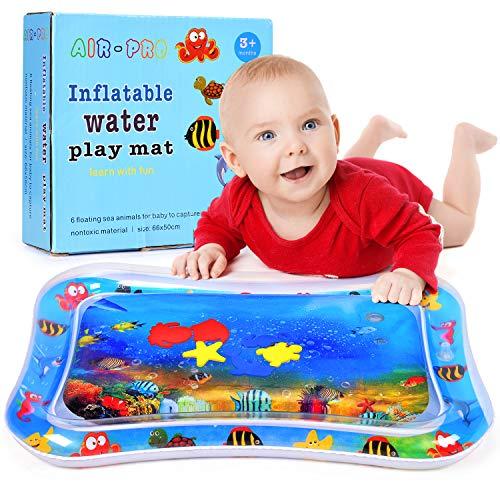Wasser-Spielmatte Baby, Wesimplelife Baby Wassermatte mit 6 Beweglichen Schwimm Spielzeug Aufblasbare und Wasserfüllung Wasserpark des Frühen Kindes