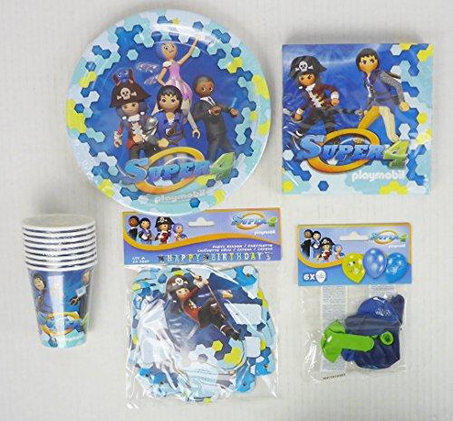 Setartikel Playmobil Super 4 - Ensemble de fête de 43 pièces pour la fête d'anniversaire des Enfants (8 Enfants)