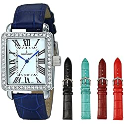 Peugeot 677S Women's Crystal 5 Interchangeable Leather Strap Watch