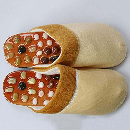 MU Pantofole da uomo magnetiche portatili per interni, per migliorare la circolazione sanguigna, sandali per sandali, massaggiatore per agopuntura per famiglie, pantofole in giada,cachi,43