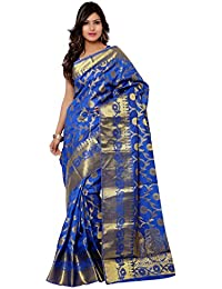 Varkala Silk Sarees Women's Tussar Silk Kanchipuram Saree With Blouse Piece(PT1001RB_Blue_Free Size)