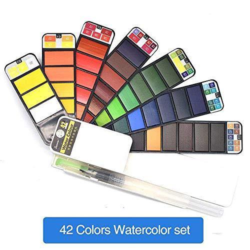 SXC Aquarell-Farbkasten, Aquarell-Set, tragbare Tasche Aquarell-Kit, Außenanstrich mit Wasserbürste, Farbkasten für Anfänger und Profis