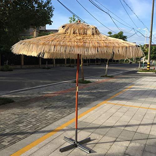 Parasol yxlz ombrellone di paglia hawaiano square beach, 1,8 * 1,8 m hula turco tiki umbrella, stile artistico, ombrelli da esterno in legno,adatto a spiagge, feste, decorazioni da giardino, ecc.