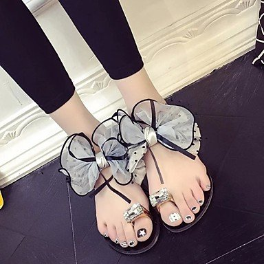 zhENfu donna pantofole & amp; flip-flops luce estiva suole PU Casual tacco piatto scintillante Glitter fiore Gray