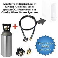 Lot économique: CO2Adaptateur de tuyau haute pression 1,5m + 2kg Propriété Bouteille CO2Convient pour gazéifier Grohe Blue Home
