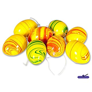 8 pieces: Easter Egg Hanging Decoration, Colourful – Yellow/Orange/Green Marble Look Height: 6 cm, Easter egg, decorations, Spring