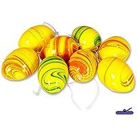 8-teiliges Set: Deko-Ostereier zum Hängen, fröhlich bunte Farben, gelb/orange/grün, Marmorlook, Höhe: 6 cm, Ostern Eier Deko-Eier Dekoration Frühling