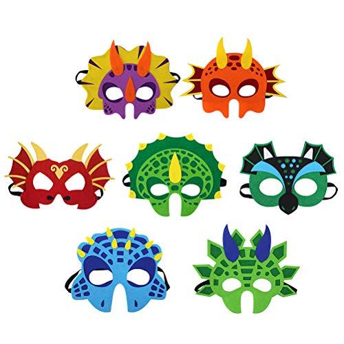 Toyvian Dinosaurier Masken Filz Kinder Party Dekorationen Kostüm Zubehör 14PCS