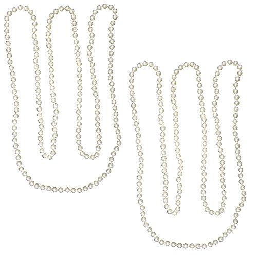 Spassprofi 2 Perlenketten 182cm Perlen Kette Perlenkette f. Charleston Kostüme 50er 60er Jahre (50 60 Kostüme)