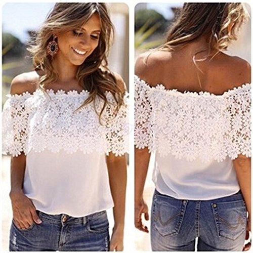 OverDose Reizvolle Frauen weg von der Schulter beiläufige Oberseiten Blusen Spitze Häkelarbeit Chiffon Hemd Tops Shirts Weiß