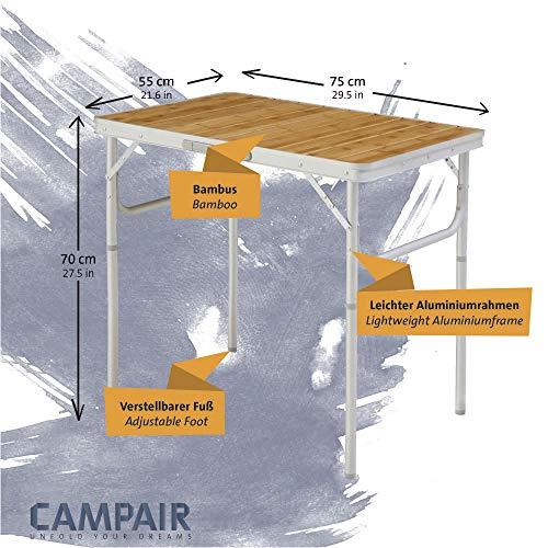 CampAir Campingtisch mit Tragetasche – Höhenverstellbarer Klapptisch aus Aluminium und Bambusholz