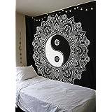 Noir et blanc Yin Yang Tapisserie murale à suspendre Mandala Tapisserie Tapisserie Reine par Raajsee