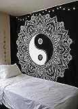 Schwarz und Weiß Yin Yang Wandteppich Mandala Tapisserie Queen von raajsee