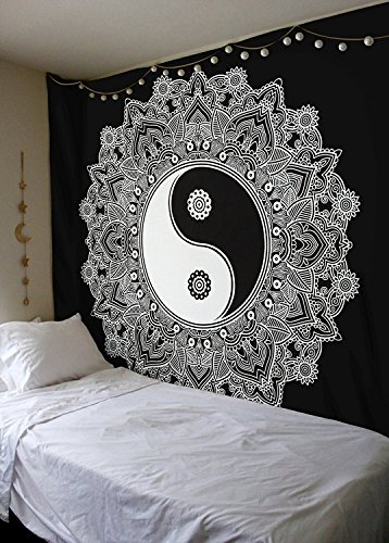 RAP Black And White Tapestry, YinYang Wall Hanging Tapestry, Mandala Tapestries, Indian...