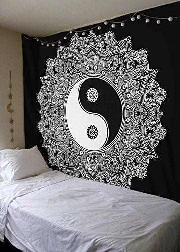 Blanco y Negro Yin Yang tapiz colgante de pared Mandala tapiz Reina Tapiz Por raajsee