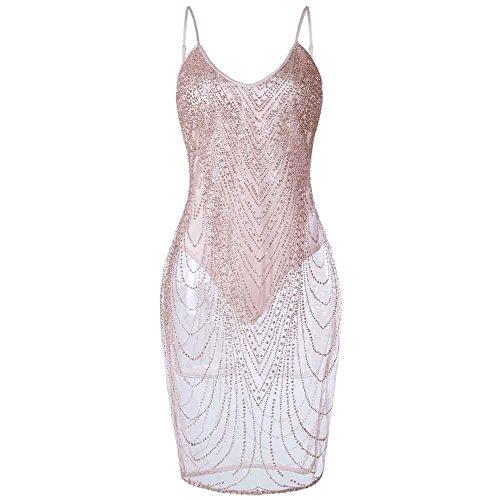 MIRRAY Damen Tiefer V-Ausschnitt Strapsen Kleider Pailletten Glitzer Bodycon Stretch Mini Partei Kleid(Rosa,X-Large