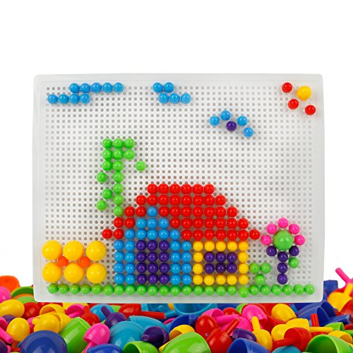 Mosaik Steckspiel mit 2 Steckbrett für Kinder Jungen Mädchen 3 4 5 Jahre - Mädchen 5 Für Alt-spielzeug Jahre