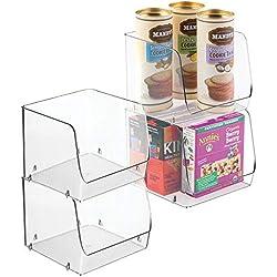 mDesign bac de rangement empilable pour la cuisine (lot de 4) - rangement frigo idéal pour légumes, fruits, etc. - boîte de rangement en plastique résistant - transparent