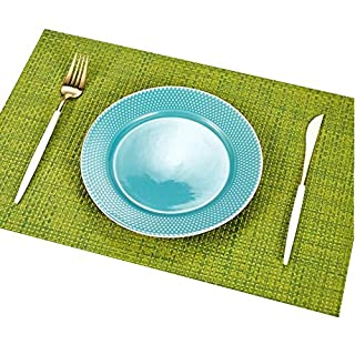 Addfun®Table Mats(Set of 6),Premium Washable High Quaity Non-Slip Insulation PVC Place Mats for Dinner Table,Green