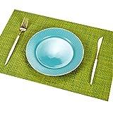 Addfun®Tischsets, Prämie Waschbar Hoch Qualität Rutschfest Isolierung PVC Tischsets für Esstisch(Grün, 6er Set)
