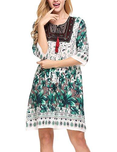 Meaneor Damen Kleid mehrfarbig Dunkelgrün - De Noche Kleider
