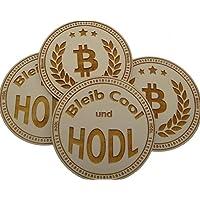 4 Stück Untersetzer mit Motiv Bitcoin HODL aus Holz 12cmx6mm