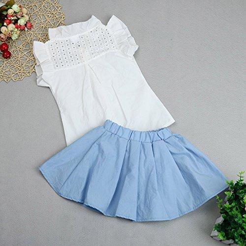 Diath Kinderbekleidung Kinder MäDchen Kleid, T-Shirt Tops + Hosen+GüRtel Ausstattungs Kleidung Satz ÄRmellos Drucken