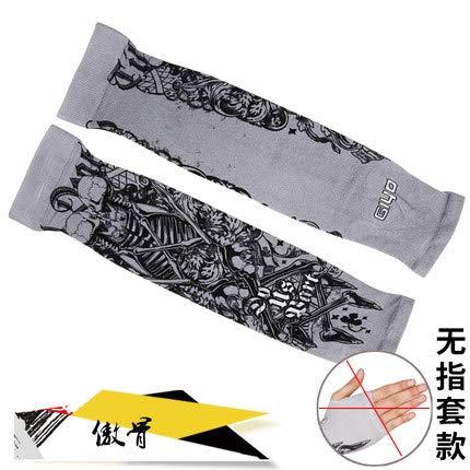 JinRui-Sport Tattoo Sleeve Blaue Seide Sonnencreme Manschette Blume Arm Ärmel, L, Ärmel - stolz Knochen (ohne Ärmel) 2 Packungen