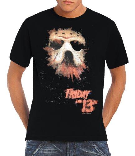 "T-shirt, motivo: maschera fluorescente e scritta ""Friday 13th"", taglie S-XXL, Nero (nero), XXL"