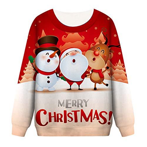 Bauycy Pullover Damen Lady Herbst Winter Weihnachten 3D Print Langarm Pullover Pullover Top Sweatshirt Weihnachts Party Casual Sweatshirt
