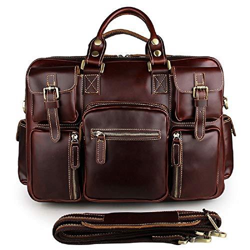 Preisvergleich Produktbild WFF Erste Schicht Leder Herren Tasche, europäische und amerikanische Retro Crazy Horse Leder Handtasche, Herren Tasche mit Mehreren Taschen,4,16 Zoll