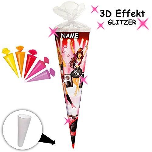 alles-meine.de GmbH passende 3D LED Licht & Leucht - Schleife - für mit _ 3-D Effekt - Glitzer ! _ Set _ Schultüte + 5 kleine Zuckertüten -  Glamour Girl / Sängerin & Rock Star .. -