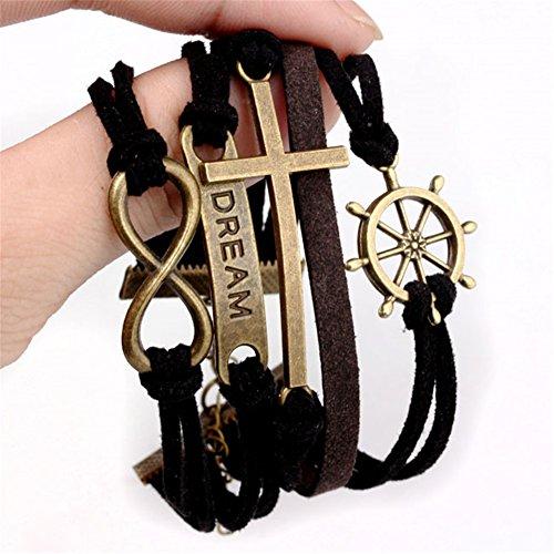 JSDDE Damen Mädchen Uhren Vintage Weltkarte Quarzuhr Armbanduhr Plus Infinity Wickelarmband, Schwarz - 4