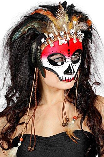 Maske mit Knochen und Feder Weiß rot Federschmuck Voodoopuppe Legba Haiti Halloweenmaske Grusel Horror Scary HochwertigEinheitsgröße Weiß/Rot ()
